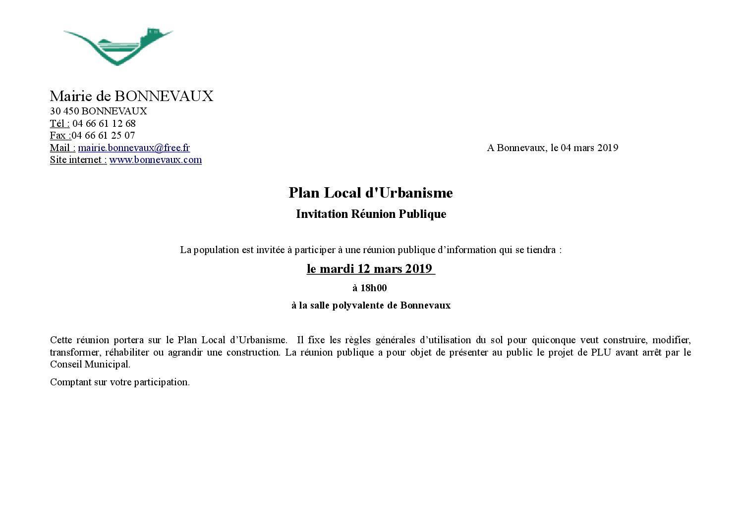 Invitation : Réunion Publique de présentation du PLU