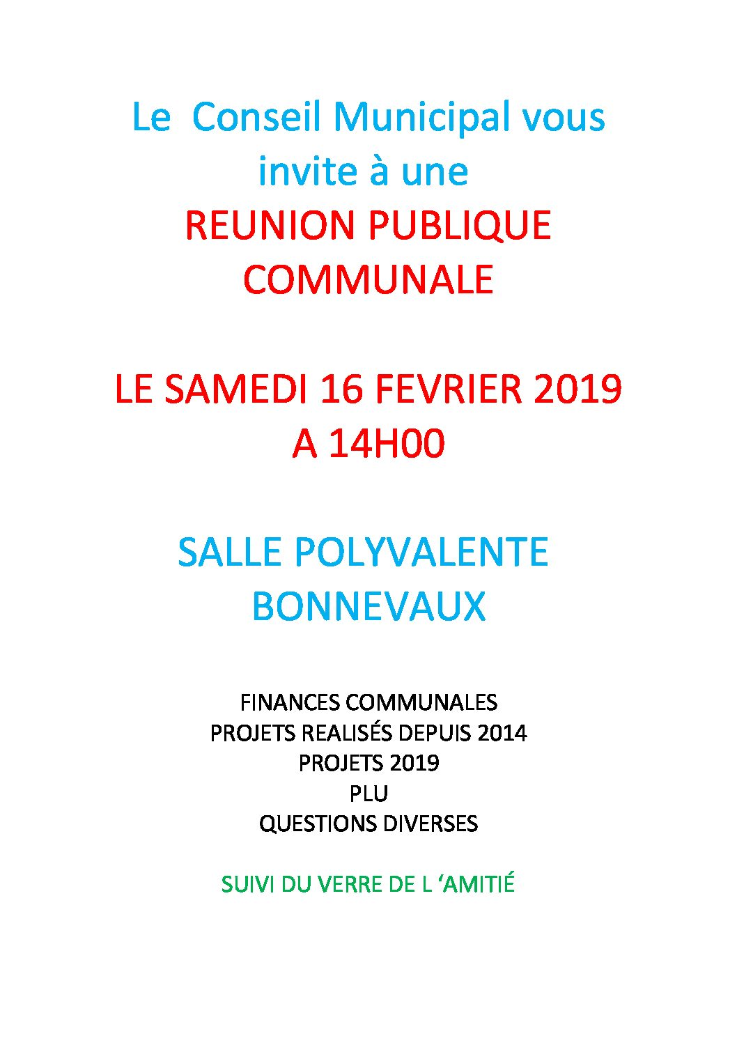 RÉUNION PUBLIQUE COMMUNALE – le samedi 16 février à 14h00